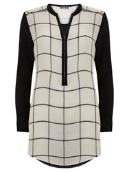 Mint Velvet Check Lace Cape Tunic Top Multi