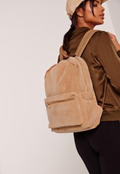 Missguided Faux Suede Sports Luxe Rucksack Camel