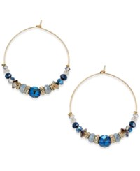 Inc International Concepts Gold Tone Blue Bead Wire Hoop Earrings Only At Macy's