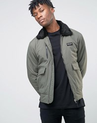 Nicce London Ma1 Bomber Jacket With Faux Fur Collar Khaki Green