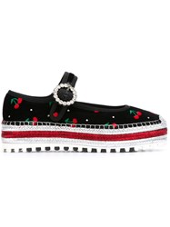 Marc Jacobs Cherry Embroidered Espadrilles Black
