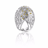 Sonal Bhaskaran Shikhara Dome Ring Silver Yellow Cz Yellow Orange Silver