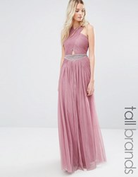 Little Mistress Tall Cutout Detail Maxi Dress With Embellished Waist Mauve Pink