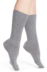 Treasure And Bond Women's Cable Knit Crew Socks Grey Md Charcoal Heather