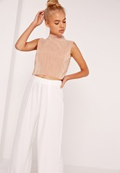 Missguided High Neck Vertical Pleated Crop Top Nude Beige