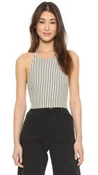 Alice Olivia Jaymee Cropped Halter Top Cream Black