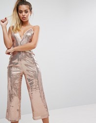 Prettylittlething Sequin Culotte Jumpsuit Pink