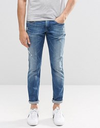 Replay Anbass Slim Jeans Stretch Distress Light Wash Light Wash Blue