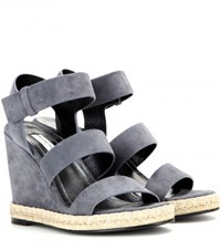 Balenciaga Suede Wedge Sandals Grey