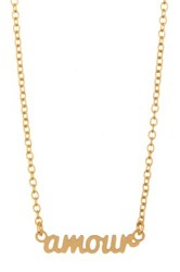Kris Nations 14K Gold Plated Amour Script Necklace Metallic