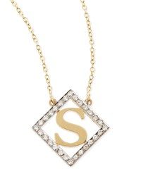 Small Block Initial Pendant Necklace With Diamonds Kacey K X