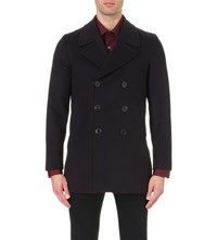 Paul Smith Double Breasted Wool And Cashmere Blend Peacoat Navy