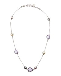 Majorica Crystal And Faux Pearl Station Necklace Purple