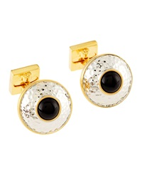 Ike Behar Hammered Onyx Cuff Links