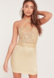 Missguided Organza Lace Bodycon Dress Gold