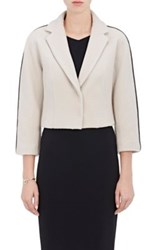 Narciso Rodriguez Women's Leather Trimmed Melton Crop Jacket Cream