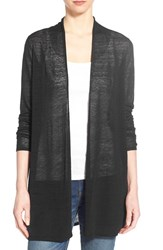 Women's Eileen Fisher Organic Linen Blend Straight Cut Long Cardigan Black