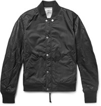 Nonnative Student Leather And Shell Varsity Jacket Black
