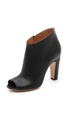 Maison Martin Margiela Leather Open Toe Booties Black