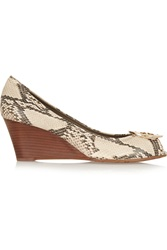 Tory Burch Sally Snake Effect Leather Wedge Pumps Animal Print