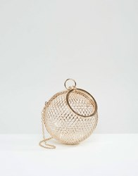 Asos Cage Sphere Clutch Bag Gold