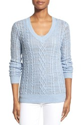 Women's Nordstrom Collection Cable Knit V Neck Sweater