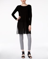 Eileen Fisher Long Sleeve Chiffon Hem Tunic Black