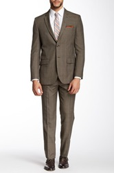 Nicole Miller Brown Plaid Two Button Notch Lapel Slim Fit Suit