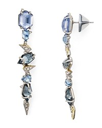 Alexis Bittar Mosaic Lace Jeweled Drop Earrings Blue Silver