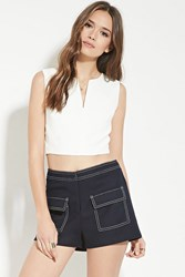 Forever 21 Contemporary Textured Shorts Navy White