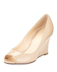 Cole Haan Lena Patent Open Toe Wedge Pump Maple Sugar