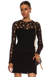 Yigal Azrouel Interlocking Chains Lacework Cotton Blend Top In Black