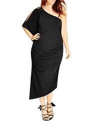 City Chic Ruched One Shoulder Dress Black