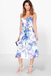 Boohoo Digital Print Sweetheart Bandeau Skater Dress Blue