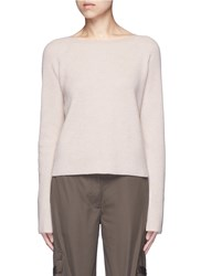 Helmut Lang Ribbon Sleeve Wool Cashmere Ribbed Sweater Neutral