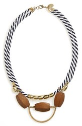 Women's Berry Rope Statement Necklace Navy White