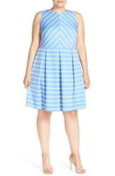 Plus Size Women's London Times 'Deauville' Stripe Knit Pleat Fit And Flare Dress