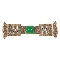 Alice Joseph Vintage 1930S Chrome Plated Art Deco Chrysophate And Diamante Brooch Green Clear