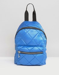 Asos Mini Quilted Nylon Backpack Blue