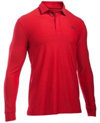 Under Armour Men's Long Sleeve Golf Polo Red