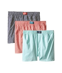 Original Penguin Fashion Woven 3 Pack Boxer Dark Blue Blue Tint Coral Men's Underwear Multi