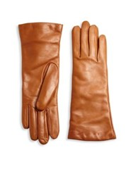 Saks Fifth Avenue Cashmere Lined Leather Gloves Cognac