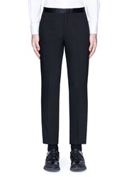 Neil Barrett Satin Tuxedo Stripe Virgin Wool Pants Black