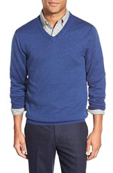 Men's Bonobos Slim Fit Merino Wool V Neck Sweater Ocean Heather