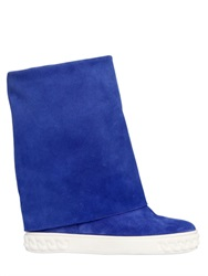 Casadei 90Mm Suede Wedged Boots