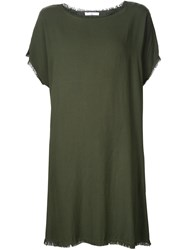 321 Raw Edge Shift Dress Green