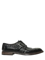 Dolce And Gabbana Brogue Studded Leather Monk Strap Shoes