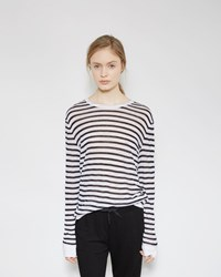 Alexander Wang Striped Long Sleeved Tee Ink And White