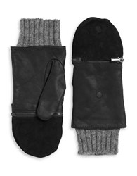 Echo Leather And Wool Convertible Gloves Black