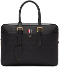 Thom Browne Black Grained Leather Briefcase